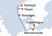 Copenhague, Warnemunde, Navigation, Stavanger, Flaam, Hellesylt, Navigation, Copenhague