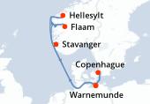Warnemunde, Navigation, Stavanger, Flaam, Hellesylt, Navigation, Copenhague, Warnemunde