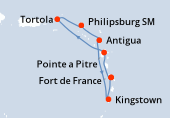 Fort de France, Pointe a Pitre, Navigation, Tortola, Philipsburg SM, Antigua, Kingstown, Fort de France