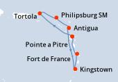 Pointe a Pitre, Navigation, Tortola, Philipsburg (Saint Martin), Antigua, Kingstown, Fort de France, Pointe a Pitre