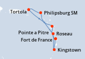 Fort de France, Pointe a Pitre, Navigation, Tortola, Philipsburg SM, Roseau, Kingstown, Fort de France