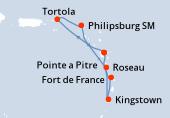 Pointe a Pitre, Navigation, Tortola, Philipsburg (Saint Martin), Roseau, Kingstown, Fort de France, Pointe a Pitre