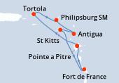 Pointe a Pitre, Navigation, Tortola, Philipsburg (Saint Martin), Antigua, St Kitts, Fort de France, Pointe a Pitre