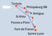 Fort de France, Sainte Lucie, Pointe a Pitre, Navigation, Tortola, Philipsburg SM, Antigua, St Kitts, Fort de France
