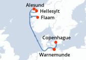 Warnemunde, Navigation, Flaam, Alesund, Hellesylt, Navigation, Copenhague, Warnemunde