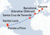 Pointe a Pitre, Sainte Lucie, Navigation, Navigation, Navigation, Navigation, Navigation, Navigation, Santa Cruz de Tenerife, Navigation, Gibraltar (Détroit), Navigation, Barcelone, Savone