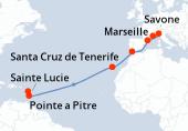 Pointe a Pitre, Sainte Lucie, Navigation, Navigation, Navigation, Navigation, Navigation, Navigation, Santa Cruz de Tenerife, Navigation, Gibraltar (Détroit), Navigation, Barcelone, Savone, Marseille