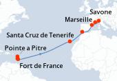 Fort de France, Pointe a Pitre, Sainte Lucie, Navigation, Navigation, Navigation, Navigation, Navigation, Navigation, Santa Cruz de Tenerife, Navigation, Gibraltar (Détroit), Navigation, Barcelone, Savone, Marseille