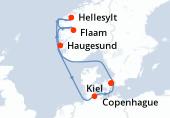 Copenhague, Navigation, Hellesylt, Flaam, Haugesund, Navigation, Kiel, Copenhague