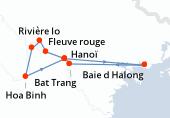 Paris, Hanoï, Hanoï, Baie d Halong, Baie d Halong, Baie d Halong, Bat Trang, Hanoï, Fleuve rouge, Rivière lo, Rivière DA, Hoa Binh, Hanoï, Paris
