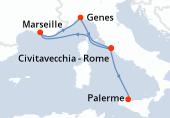 Civitavecchia - Rome, Marseille, Genes, Civitavecchia - Rome, Palerme