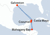 Galveston, Navigation, Costa Maya, Mahogany Bay, Cozumel, Navigation, Galveston
