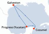 Galveston, Navigation, Cozumel, Progreso (Yucatan), Navigation, Galveston
