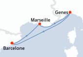 Barcelone, Marseille, Genes, Barcelone