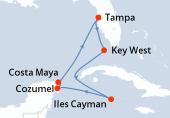 Tampa, Key West, Navigation, Iles Cayman, Cozumel, Costa Maya, Navigation, Tampa