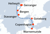 Copenhague, Navigation, Hellesylt, Geiranger, Bergen, Stavanger, Goteborg, Warnemunde, Copenhague