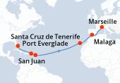 Port Everglade, Navigation, Navigation, San Juan, Antigua, Navigation, Navigation, Navigation, Navigation, Navigation, Navigation, Santa Cruz de Tenerife, Navigation, Malaga, Navigation, Marseille