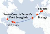 Port Everglade, Navigation, Navigation, San Juan, Antigua, Navigation, Navigation, Navigation, Navigation, Navigation, Navigation, Santa Cruz de Tenerife, Navigation, Malaga, Navigation, Marseille, Savone