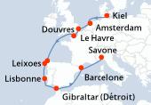 Kiel, Navigation, Amsterdam, Douvres, Le Havre, Navigation, La Corogne, Leixoes, Lisbonne, Gibraltar (Détroit), Navigation, Barcelone, Savone