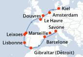 Kiel, Navigation, Amsterdam, Douvres, Le Havre, Navigation, La Corogne, Leixoes, Lisbonne, Gibraltar (Détroit), Navigation, Barcelone, Savone, Marseille
