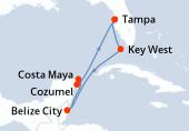 Tampa, Key West, Navigation, Belize City, Costa Maya, Cozumel, Navigation, Tampa
