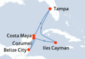 Tampa, Navigation, Costa Maya, Belize City, Cozumel, Iles Cayman, Navigation, Tampa