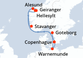 Copenhague, Navigation, Hellesylt, Geiranger, Alesund, Stavanger, Goteborg, Warnemunde, Copenhague