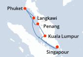 Singapour, Navigation, Langkawi, Phuket, Phuket, Penang, Kuala Lumpur, Singapour