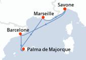 Savone, Barcelone, Palma de Majorque, Navigation, Marseille, Savone