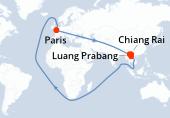 Paris, Chiang Rai, Navigation, Luang Prabang, Navigation, Vientiane, Vientiane, Paris