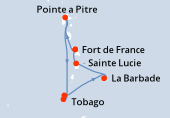 Fort de France, Pointe a Pitre, Navigation, Saint George (Grenade), Tobago, La Barbade, Sainte Lucie, Fort de France