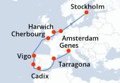 Genes, Tarragona, Navigation, Cadix, Lisbonne, Vigo, Navigation, Cherbourg, Harwich, Amsterdam, Navigation, Navigation, Stockholm, Stockholm