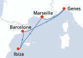 Marseille, Ibiza, Barcelone, Genes, Marseille