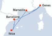 Barcelone, Genes, Marseille, Ibiza, Barcelone