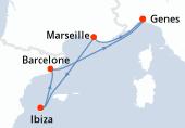 Genes, Marseille, Ibiza, Barcelone, Genes