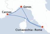 Genes, Civitavecchia - Rome, Cannes, Genes