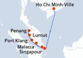 Ho Chi Minh-Ville, Ho Chi Minh-Ville, Navigation, Penyengat Island, Malacca, Lumut, Penang, Port Klang, Singapour, Singapour