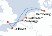 Le Havre, Southampton, Zeebrugge, Rotterdam, Rotterdam, Hambourg, Navigation, Le Havre