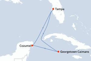 Tampa, Navigation, Georgetown Caimans, Cozumel, Navigation, Tampa