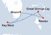 Miami, Key West, Great Stirrup Cay, Nassau, Miami