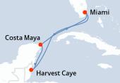 Miami, Navigation, Harvest Caye, Costa Maya, Navigation, Miami