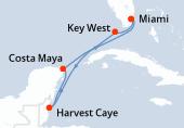 Miami, Key West, Navigation, Harvest Caye, Costa Maya, Navigation, Miami