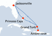 Jacksonville, Navigation, Princess Cays, Grand Turk, Amber cove, Navigation, Navigation, Jacksonville