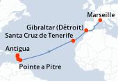 Pointe a Pitre, Antigua, Sainte Lucie, La Barbade, Navigation, Navigation, Navigation, Navigation, Navigation, Navigation, Santa Cruz de Tenerife, Navigation, Gibraltar (Détroit), Navigation, Marseille