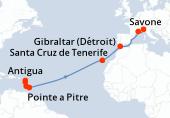 Pointe a Pitre, Antigua, Sainte Lucie, La Barbade, Navigation, Navigation, Navigation, Navigation, Navigation, Navigation, Santa Cruz de Tenerife, Navigation, Gibraltar (Détroit), Navigation, Marseille, Savone