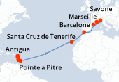 Pointe a Pitre, Antigua, Sainte Lucie, La Barbade, Navigation, Navigation, Navigation, Navigation, Navigation, Navigation, Santa Cruz de Tenerife, Navigation, Gibraltar (Détroit), Navigation, Marseille, Savone, Barcelone