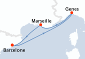 Barcelone, Genes, Marseille, Barcelone