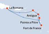 Pointe a Pitre, Navigation, La Romana, La Romana, Philipsburg (Saint Martin), Antigua, Fort de France, Pointe a Pitre