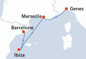 Genes, Marseille, Ibiza, Barcelone