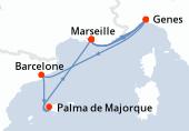 Marseille, Genes, Barcelone, Palma de Majorque, Palma de Majorque, Marseille, Genes, Marseille